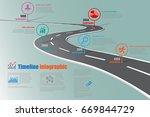 design template  road map... | Shutterstock .eps vector #669844729