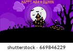 happy halloween vector... | Shutterstock .eps vector #669846229
