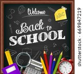 school and office supplies on... | Shutterstock .eps vector #669847219