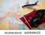 travel concept  two passports ... | Shutterstock . vector #669848425