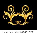 gold vintage baroque frame... | Shutterstock .eps vector #669851029