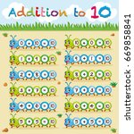 addition to ten worksheet with... | Shutterstock .eps vector #669858841