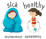 opposite wordcard for word sick ... | Shutterstock .eps vector #669858931