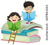 boy and girl reading book... | Shutterstock .eps vector #669861661
