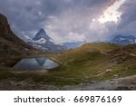 riffel lake and matterhorn in... | Shutterstock . vector #669876169
