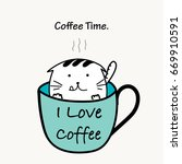 coffee time with cat cup.   Shutterstock .eps vector #669910591