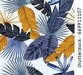 palm tropic leaves in an... | Shutterstock .eps vector #669911107