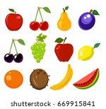 set of fruit vector illustration | Shutterstock .eps vector #669915841