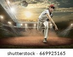 baseball players in action on... | Shutterstock . vector #669925165
