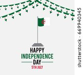 happy independence day algeria... | Shutterstock .eps vector #669940345