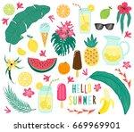 cute set of hand drawn summer... | Shutterstock .eps vector #669969901