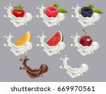 set dessert of ripe berry fruit ... | Shutterstock . vector #669970561