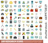 100 research icons set in flat... | Shutterstock . vector #669973819