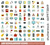 100 scholarship icons set in... | Shutterstock . vector #669973849