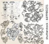 huge set of vector flourishes ... | Shutterstock .eps vector #669980251
