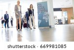 business people with luggage...   Shutterstock . vector #669981085