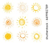 set of sun in hand drawn style.    Shutterstock . vector #669982789