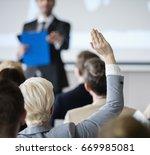 rear view of businesswoman...   Shutterstock . vector #669985081