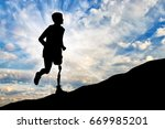concept of disability. man with ... | Shutterstock . vector #669985201