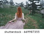 woman in the woods  fresh air   ...   Shutterstock . vector #669987355
