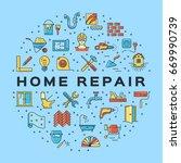 home repair circle infographics ... | Shutterstock .eps vector #669990739