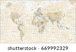 vintage world map   detailed... | Shutterstock .eps vector #669992329