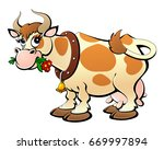 cartoon cow chewing grass. | Shutterstock .eps vector #669997894
