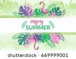 summer tropical banner with... | Shutterstock .eps vector #669999001
