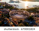 pula arena at sunset   hdr... | Shutterstock . vector #670001824