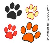 dog prints on a white... | Shutterstock .eps vector #670001944