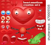 creation set of cartoon heart... | Shutterstock .eps vector #670005535