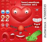 creation set of cartoon heart... | Shutterstock .eps vector #670005535
