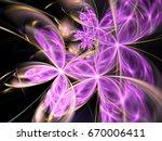 purple fractal flowers  digital ... | Shutterstock . vector #670006411