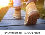 hiking boots close up. tourist... | Shutterstock . vector #670017805