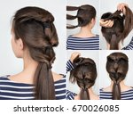 simple hairstyle with scrunchy. ... | Shutterstock . vector #670026085