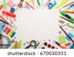 school office supplies on a... | Shutterstock . vector #670030351