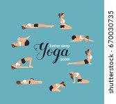yoga poses for better sleep.... | Shutterstock .eps vector #670030735