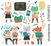 large set of characters and... | Shutterstock .eps vector #670034011