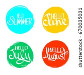 set hello summer  hand... | Shutterstock .eps vector #670035031