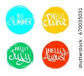 set hello summer  hand... | Shutterstock .eps vector #670035031