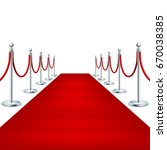 realistic red carpet between... | Shutterstock .eps vector #670038385