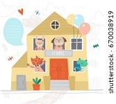 back to school. school building ... | Shutterstock .eps vector #670038919