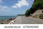 seaside highway beside mountain ...   Shutterstock . vector #670040485