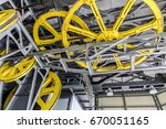 yellow machinery wheels with... | Shutterstock . vector #670051165