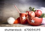 rustic christmas background... | Shutterstock . vector #670054195