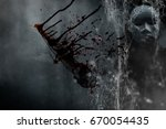 mysterious woman in black...   Shutterstock . vector #670054435
