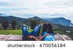 lover men and women asia travel ... | Shutterstock . vector #670056184
