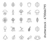 tree types linear icons set.... | Shutterstock .eps vector #670066795
