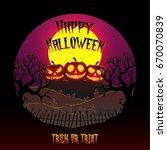 happy halloween with pumpkins.... | Shutterstock .eps vector #670070839
