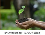 hands holding a green young... | Shutterstock . vector #670071085